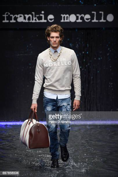 A model walks the runway at the Frankie Morello show during Milan Men's Fashion Week Spring/Summer 2018 on June 19 2017 in Milan Italy