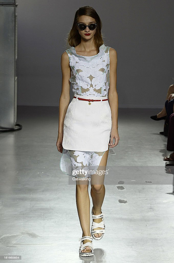 A model walks the runway at the Frankie Morello Spring Summer 2014 fashion show during Milan Fashion Week on September 23, 2013 in Milan, Italy.