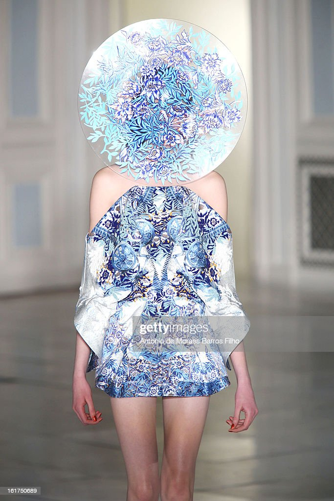 A model walks the runway at the Fyodor Golan show during London Fashion Week Fall/Winter 2013/14 at The Savoy Hotel on February 15, 2013 in London, England.