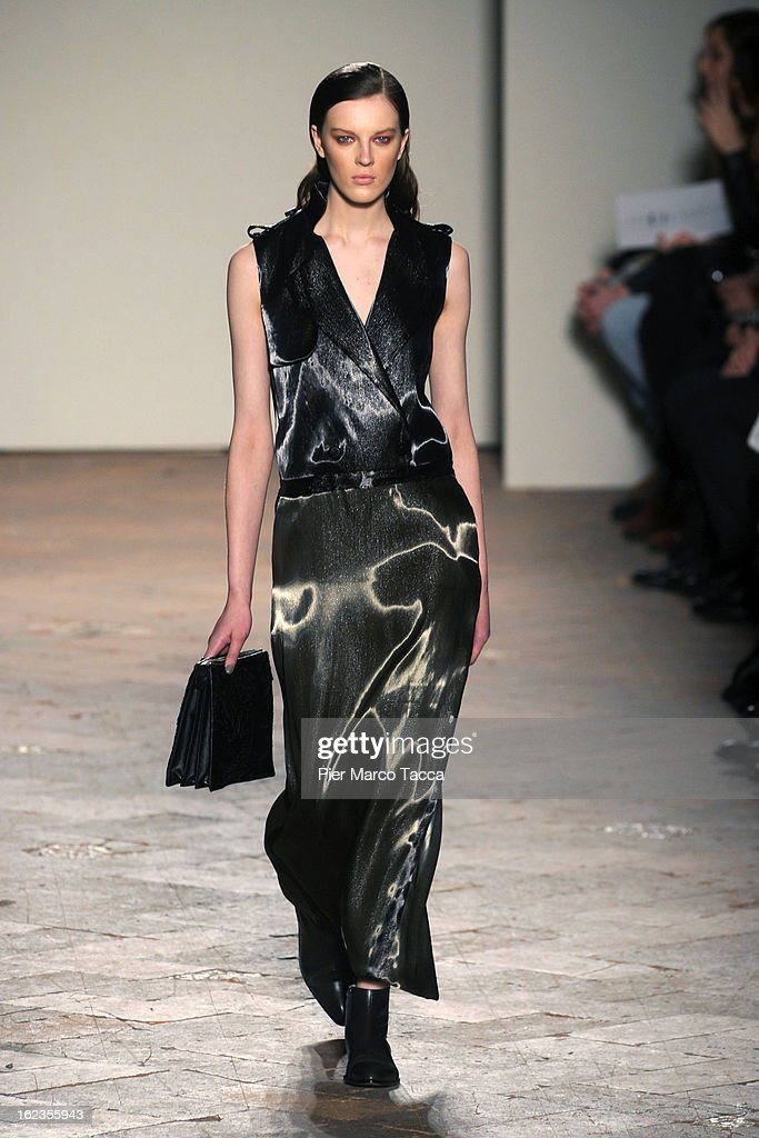 A model walks the runway at the Gabriele Colangelo fashion show during Milan Fashion Week Womenswear Fall/Winter 2013/14 on February 22, 2013 in Milan, Italy.