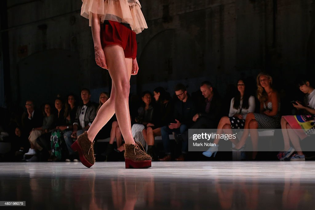 A model walks the runway at the Gail Sorronda show during Mercedes-Benz Fashion Week Australia 2014 at Carriageworks on April 7, 2014 in Sydney, Australia.