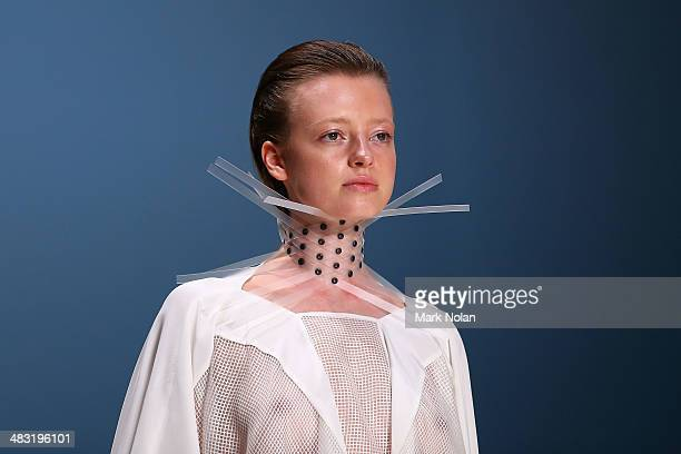 A model walks the runway at the Gail Sorronda show during MercedesBenz Fashion Week Australia 2014 at Carriageworks on April 7 2014 in Sydney...