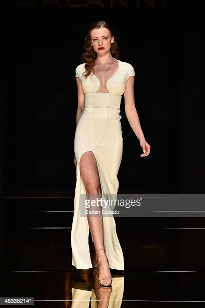 A model walks the runway at the Galanni show during MercedesBenz Fashion Week Australia 2014 at Carriageworks on April 8 2014 in Sydney Australia