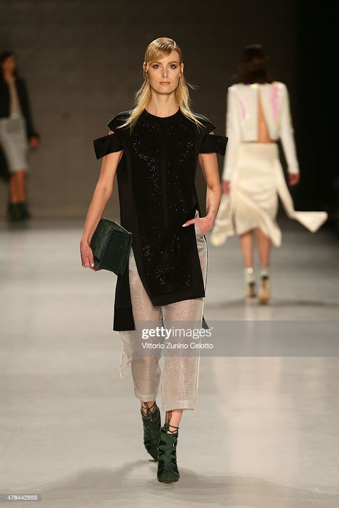 A model walks the runway at the Gamze Saracoglu show during MBFWI presented by American Express Fall/Winter 2014 on March 13, 2014 in Istanbul, Turkey.