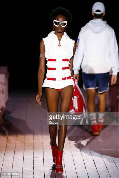 A model walks the runway at the GCDS show during Milan Men's Fashion Week Spring/Summer 2018 on June 19 2017 in Milan Italy