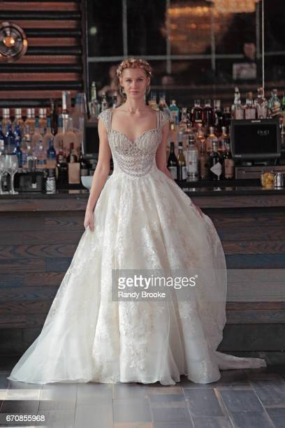 A model walks the runway at the Gemy Maalouf's bridal show during New York Fashion Week Bridal April 2017 at PHD Rooftop Lounge at Dream Downtown on...