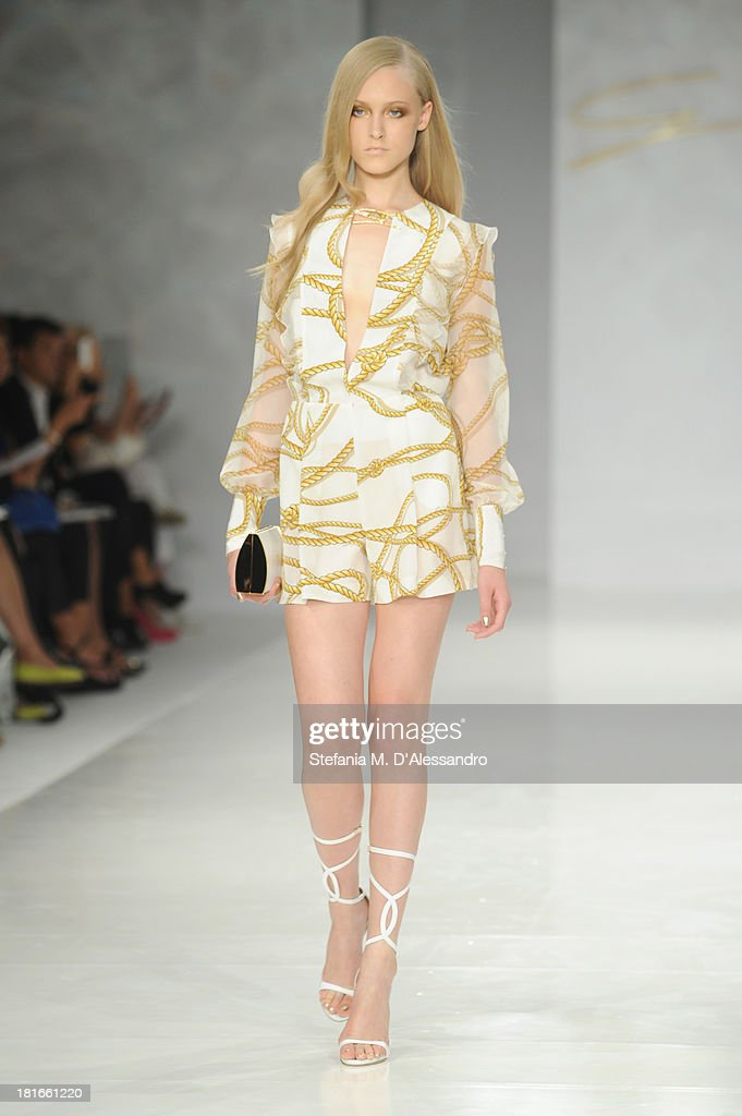 A model walks the runway at the Genny show as a part of Milan Fashion Week Womenswear Spring/Summer 2014 at on September 23, 2013 in Milan, Italy.