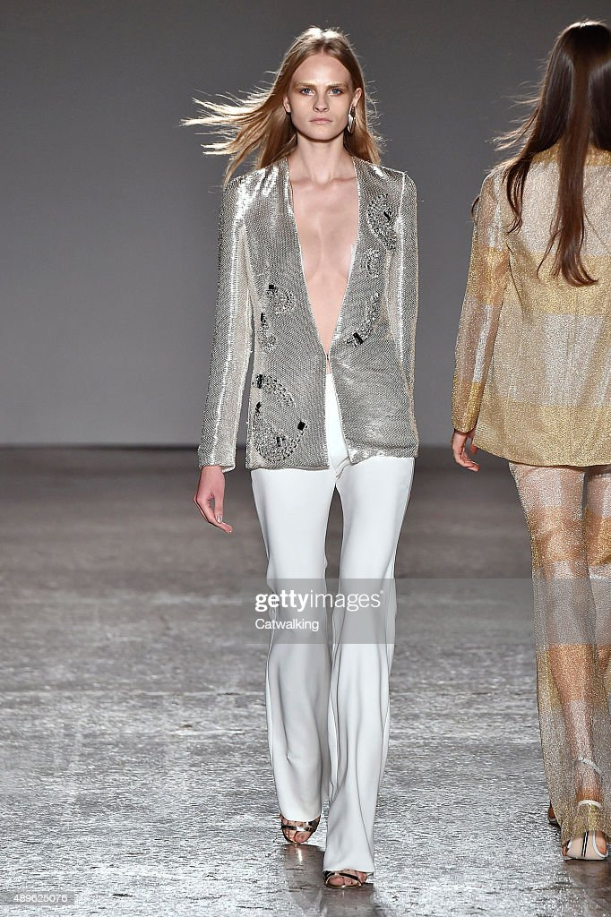 A model walks the runway at the Genny Spring Summer 2016 fashion show during Milan Fashion Week on September 23 2015 in Milan Italy