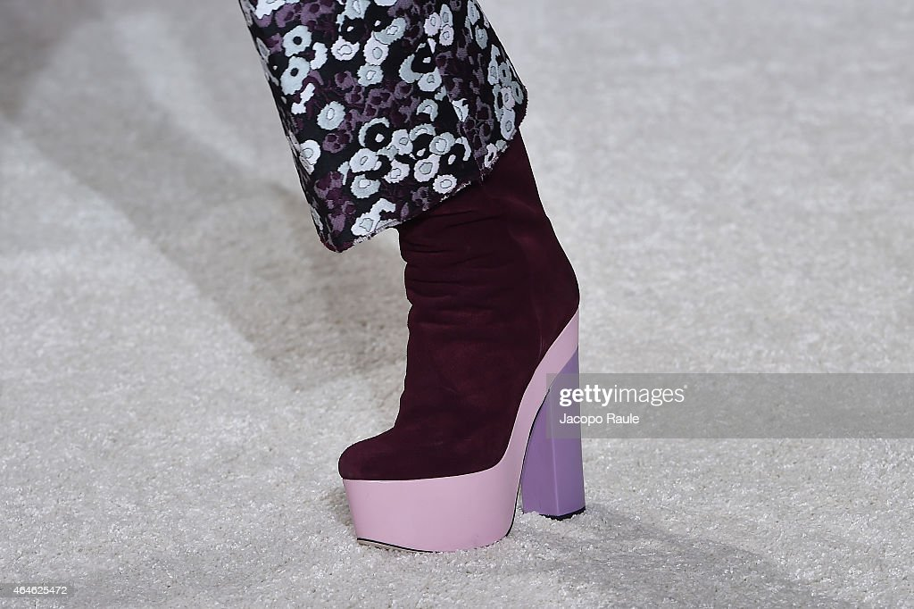 A model walks the runway at the Giamba show during the Milan Fashion Week Autumn/Winter 2015 on February 27 2015 in Milan Italy