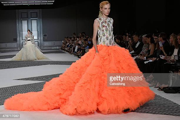 A model walks the runway at the Giambattista Valli Autumn Winter 2015 fashion show during Paris Haute Couture Fashion Week on July 6 2015 in Paris...