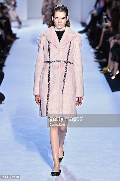A model walks the runway at the Giambattista Valli Autumn Winter 2016 fashion show during Paris Fashion Week on March 7 2016 in Paris France