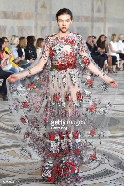 A model walks the runway at the Giambattista Valli Autumn Winter 2017 fashion show during Paris Haute Couture Fashion Week on July 3 2017 in Paris...