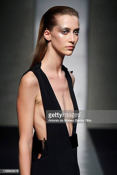 A model walks the runway at the Gianfranco Ferre Spring/Summer 2012 fashion show as part Milan Womenswear Fashion Week on September 26 2011 in Milan...
