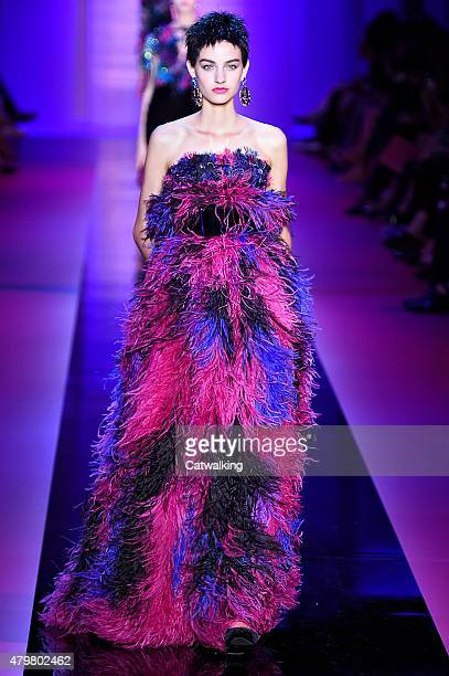 A model walks the runway at the Giorgio Armani Autumn Winter 2015 fashion show during Paris Haute Couture Fashion Week on July 7 2015 in Paris France