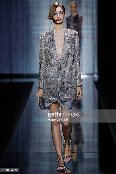 A model walks the runway at the Giorgio Armani Ready to Wear show during the Milan Fashion Week Spring/Summer 2017 on September 23 2016 in Milan Italy