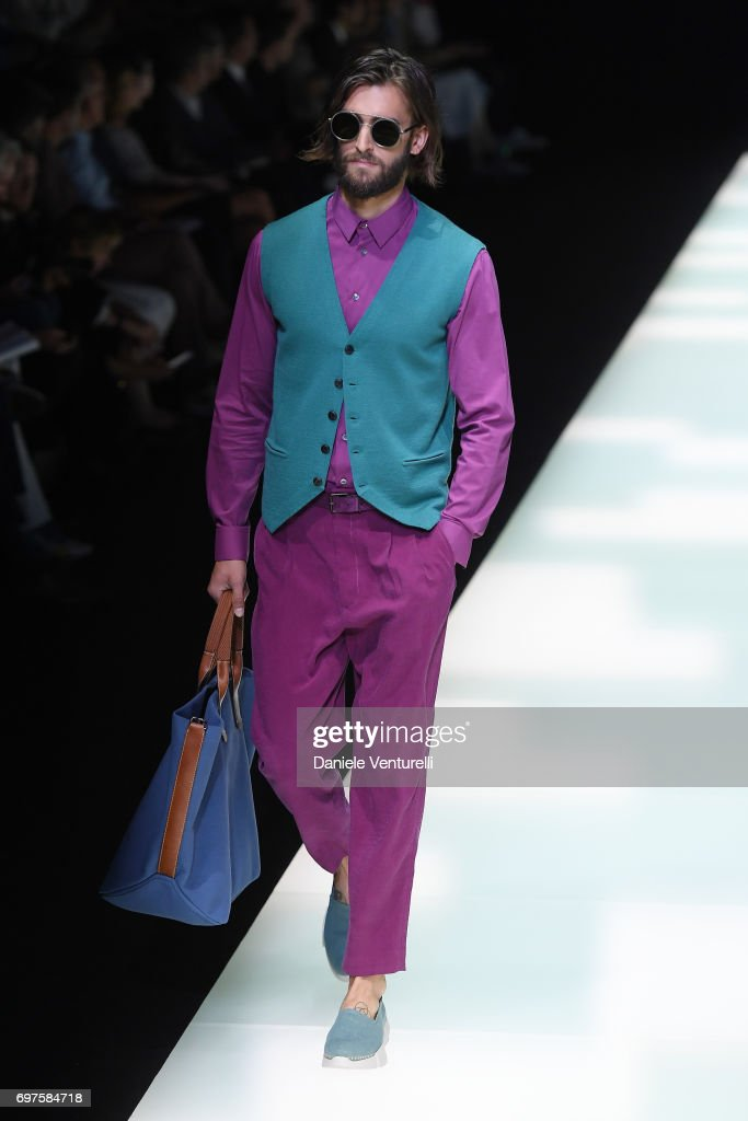 A model walks the runway at the Giorgio Armani show during Milan Men's Fashion Week Spring/Summer 2018 on June 19, 2017 in Milan, Italy.