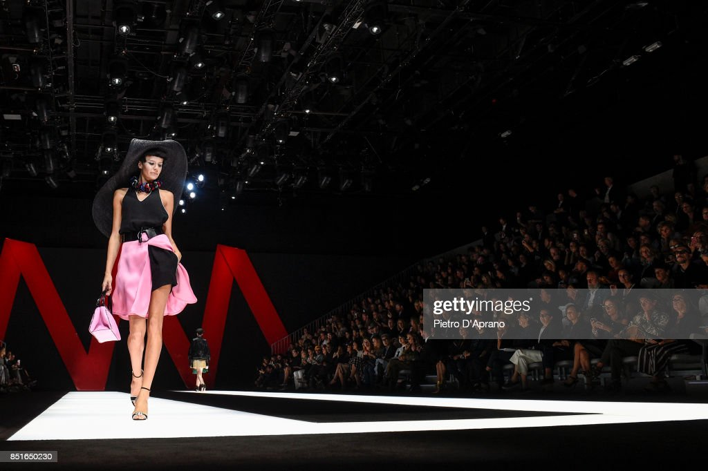 A model walks the runway at the Giorgio Armani show during Milan Fashion Week Spring/Summer 2018 on September 22, 2017 in Milan, Italy.