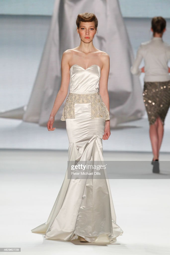 A model walks the runway at the Glaw show during Mercedes-Benz Fashion Week Autumn/Winter 2014/15 at Brandenburg Gate on January 16, 2014 in Berlin, Germany.