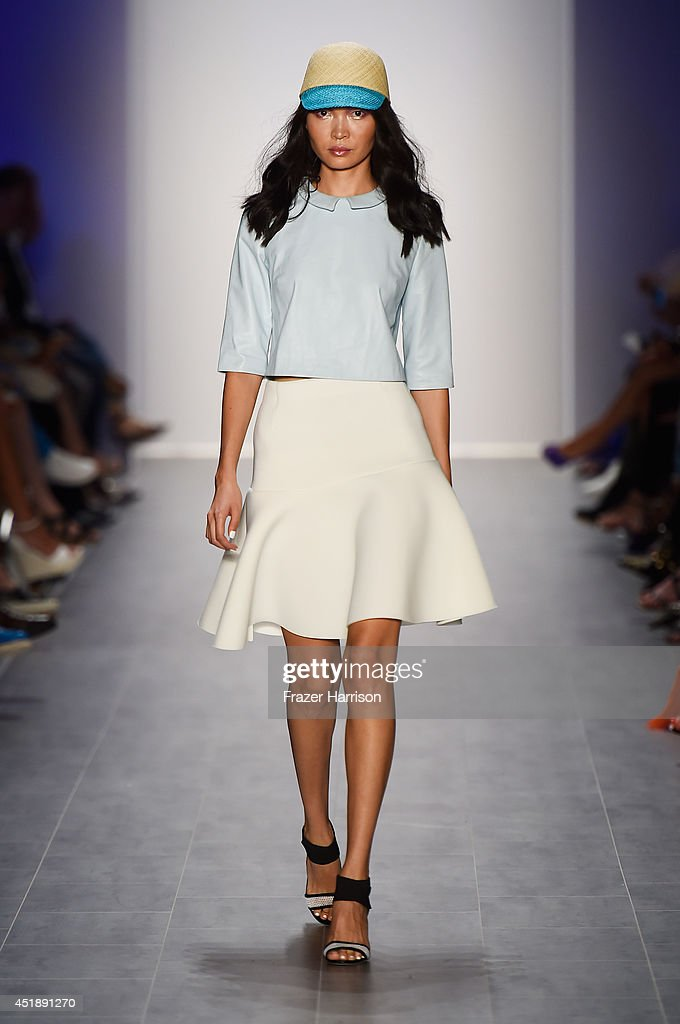 A model walks the runway at the Glaw show during the MercedesBenz Fashion Week Spring/Summer 2015 at Erika Hess Eisstadion on July 9 2014 in Berlin...