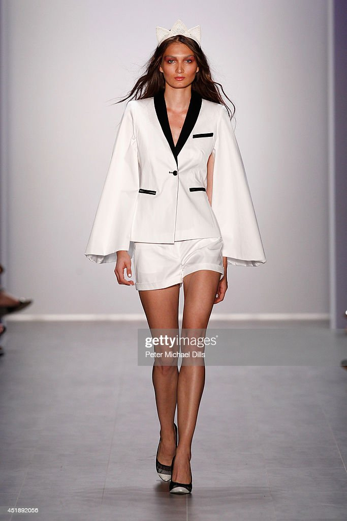 A model walks the runway at the Glaw show during the Mercedes-Benz Fashion Week Spring/Summer 2015 at Erika Hess Eisstadion on July 9, 2014 in Berlin, Germany.