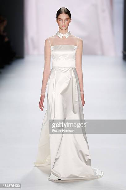 A model walks the runway at the Glaw show during the MercedesBenz Fashion Week Berlin Autumn/Winter 2015/16 at Brandenburg Gate on January 21 2015 in...