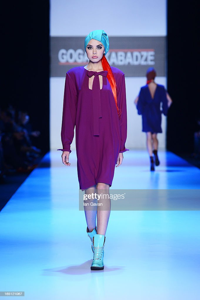A model walks the runway at the Goga Nikabadze show during Mercedes-Benz Fashion Week Russia Fall/Winter 2013/2014 at Manege on March 31, 2013 in Moscow, Russia.