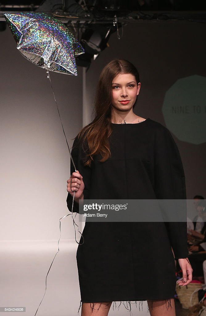 A model walks the runway at the Green Showroom show during the Mercedes-Benz Fashion Week Berlin Spring/Summer 2017 at Postbahnhof on June 28, 2016 in Berlin, Germany.