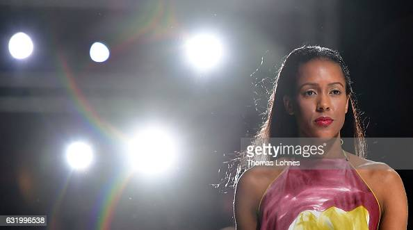 A model walks the runway at the Greenshowroom show during the MercedesBenz Fashion Week Berlin A/W 2017 at on January 18 2017 in Berlin Germany