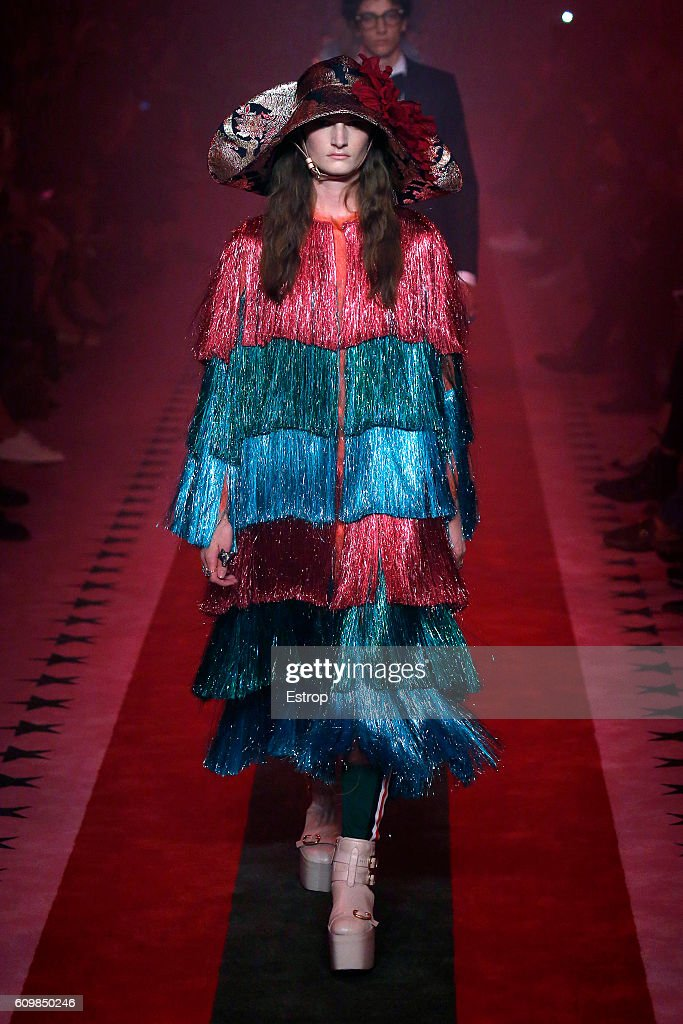 model-walks-the-runway-at-the-gucci-designed-by-alessandro-michele-picture-id609850246