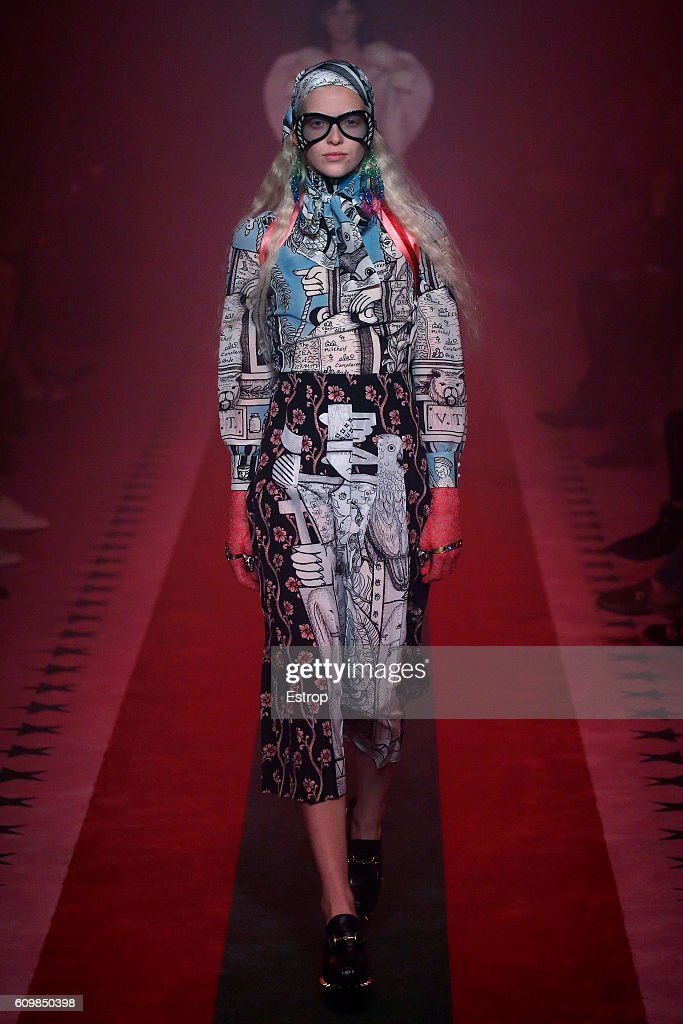 model-walks-the-runway-at-the-gucci-designed-by-alessandro-michele-picture-id609850398