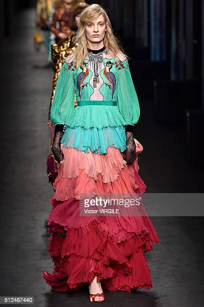 A model walks the runway at the Gucci fashion show during Milan Fashion Week Fall/Winter 2016/2017 on February 24 2016 in Milan Italy