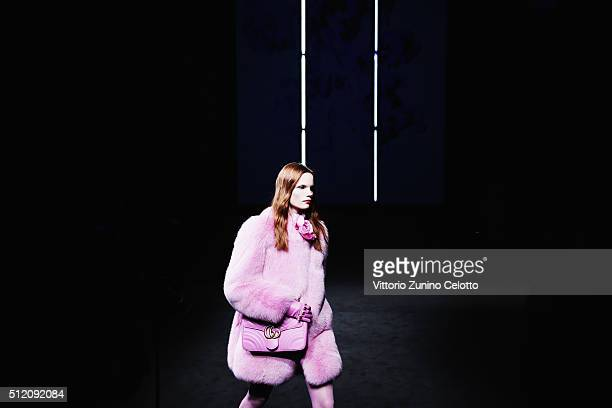 A model walks the runway at the Gucci show during Milan Fashion Week Fall/Winter 2016/17 on February 24 2016 in Milan Italy