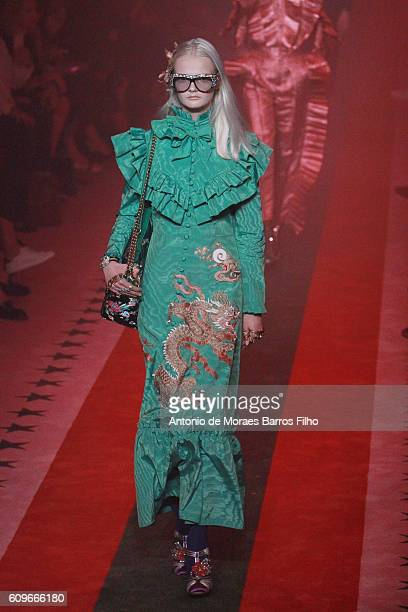 A model walks the runway at the Gucci show during Milan Fashion Week Spring/Summer 2017 on September 21 2016 in Milan Italy