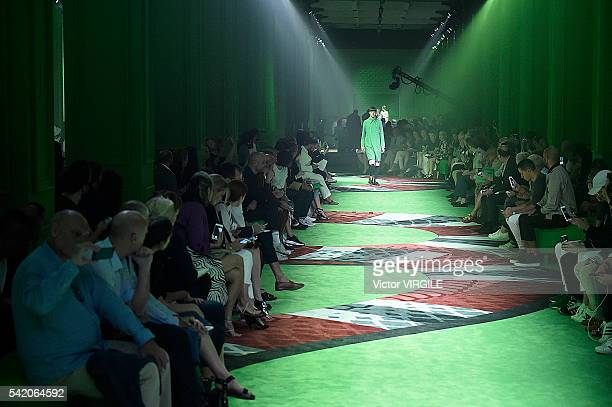 A model walks the runway at the Gucci show during Milan Men's Fashion Week Spring/Summer 2017 on June 20 2016 in Milan Italy