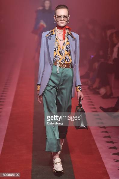 A model walks the runway at the Gucci Spring Summer 2017 fashion show during Milan Fashion Week on September 21 2016 in Milan Italy