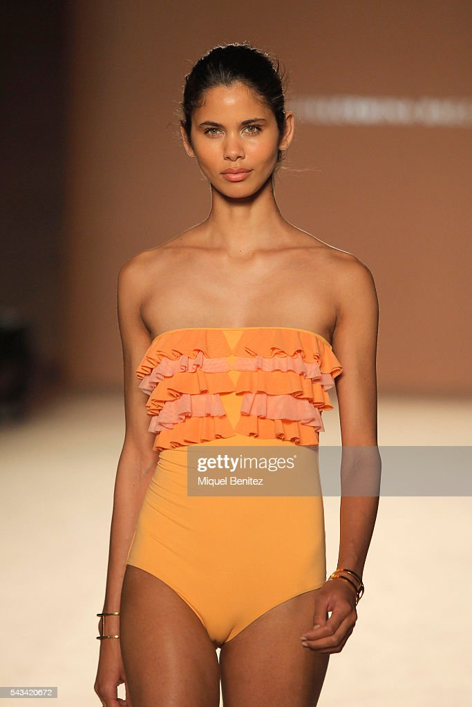 A model walks the runway at the Guillermina Baeza show during the Barcelona 080 Fashion Week Spring/Summer 2017 at the INEFC Institut Nacional de Educacio Fsica de Catalunya on June 28, 2016 in Barcelona, Spain.