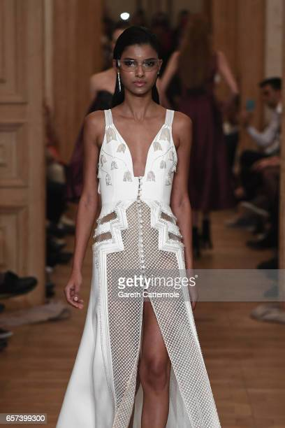 A model walks the runway at the Gulcin Cengel show during MercedesBenz Istanbul Fashion Week March 2017 at Grand Pera on March 24 2017 in Istanbul...