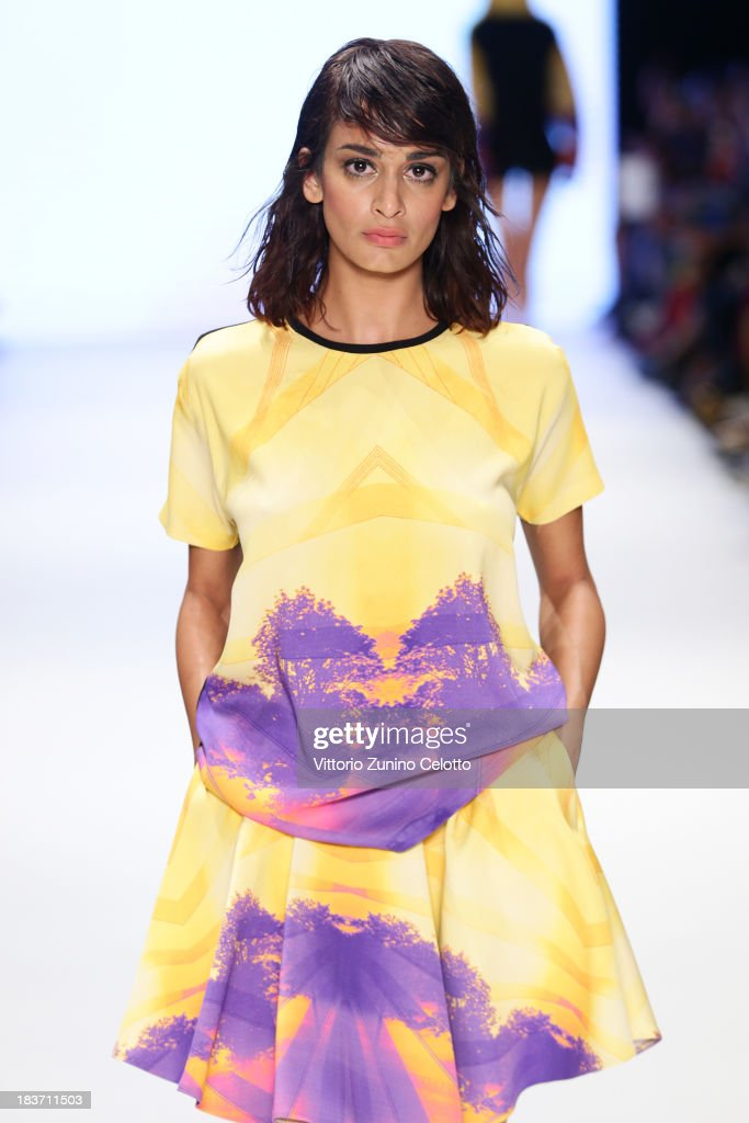 A model walks the runway at the Gunseli Turkay show during Mercedes-Benz Fashion Week Istanbul s/s 2014 presented by American Express on October 9, 2013 in Istanbul, Turkey.