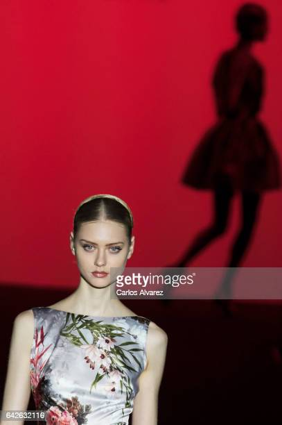 A model walks the runway at the Hannibal Laguna show during the MercedesBenz Madrid Fashion Week Autumn/Winter 2017/2018 at Ifema on February 18 2017...