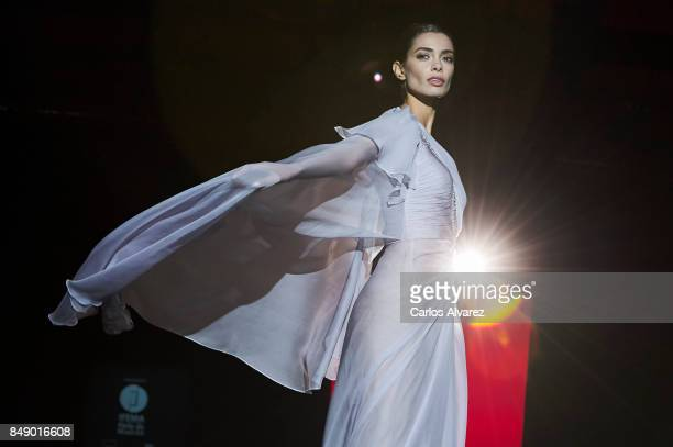 A model walks the runway at the Hannibal Laguna show during the MercedesBenz Fashion Week Madrid Spring/Summer 2018 at Ifema on September 18 2017 in...