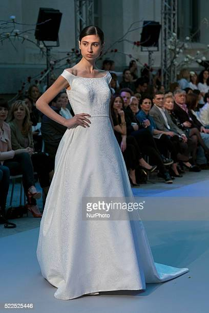 A model walks the runway at the Hannibal Laguna show in the Crystal Palace in Madrid Spain on April 19 2016