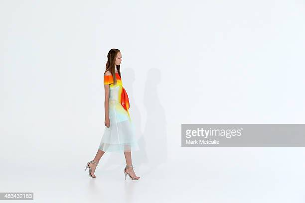 A model walks the runway at the Haryono Setiadi show during MercedesBenz Fashion Week Australia 2014 at Pix Studios Alexandria on April 9 2014 in...