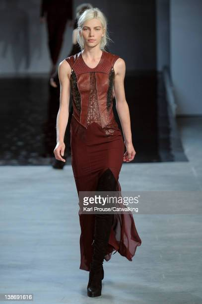 A model walks the runway at the Helmut Lang Autumn Winter 2012 fashion show during New York Fashion Week on February 10 2012 in New York United States