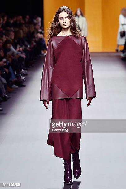 A model walks the runway at the Hermes Autumn Winter 2016 fashion show during Paris Fashion Week on March 7 2016 in Paris France