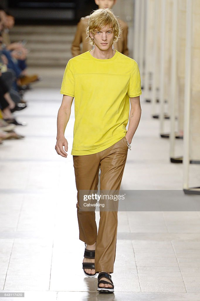 A model walks the runway at the Hermes Spring Summer 2017 fashion show during Paris Menswear Fashion Week on June 25, 2016 in Paris, France.