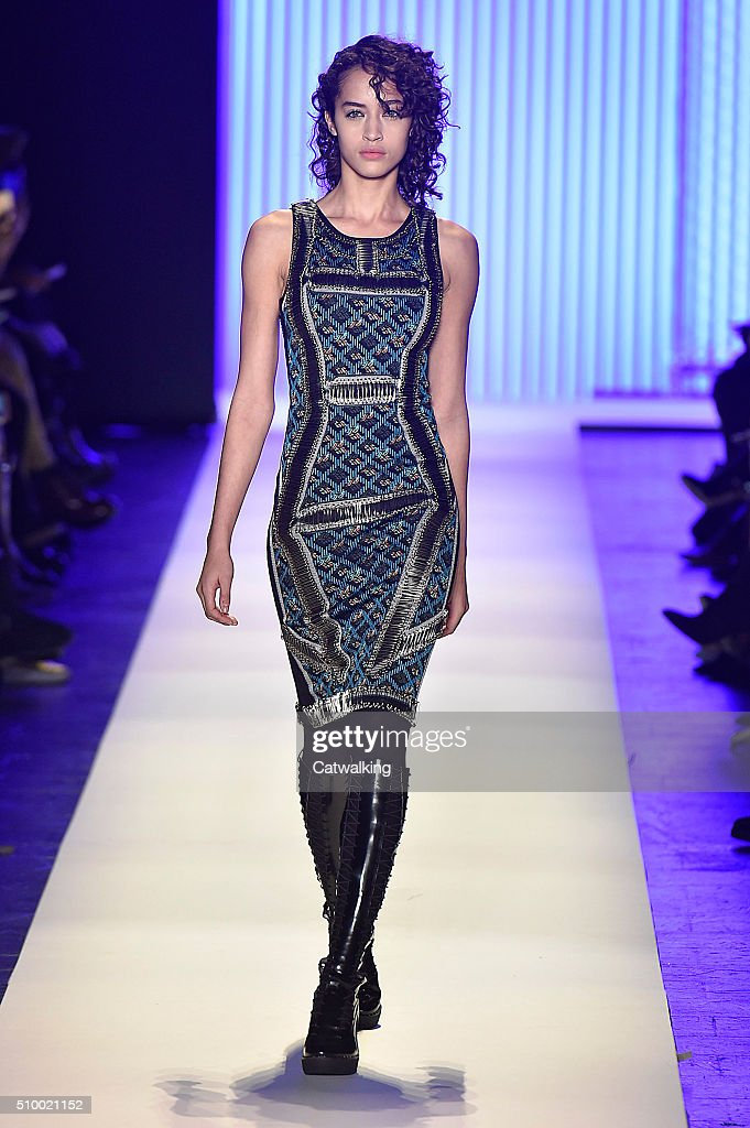 A model walks the runway at the Herve Leger Autumn Winter 2016 fashion show during New York Fashion Week on February 13, 2016 in New York, United States.