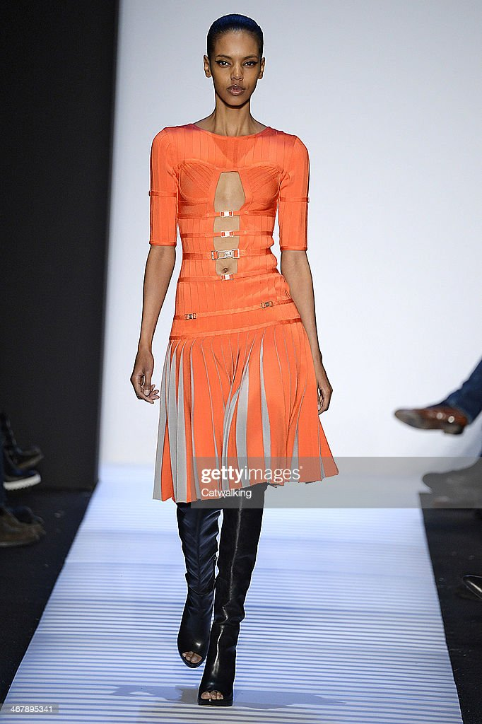 A model walks the runway at the Herve Leger by Max Azria Autumn Winter 2014 fashion show during New York Fashion Week on February 8, 2014 in New York, United States.