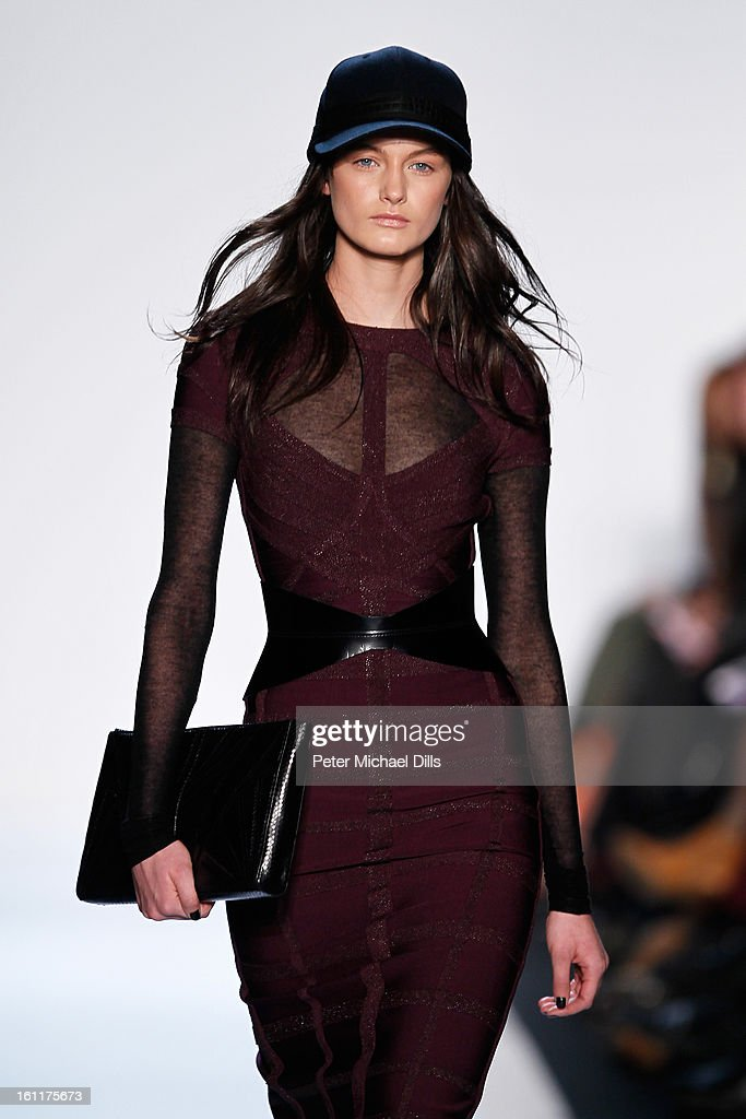 A model walks the runway at the Herve Leger by Max Azria Fall 2013 fashion show during Mercedes-Benz Fashion Week at The Theatre at Lincoln Center on February 9, 2013 in New York City.