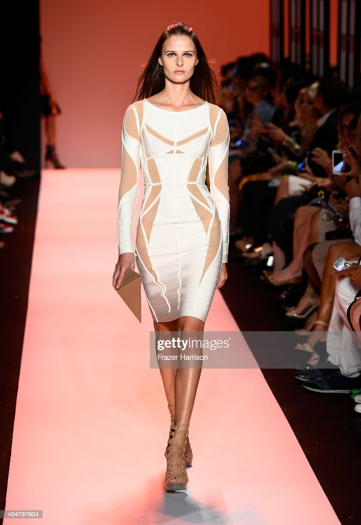 A model walks the runway at the Herve Leger By Max Azria fashion show during MercedesBenz Fashion Week Spring 2015 at The Theatre at Lincoln Center...