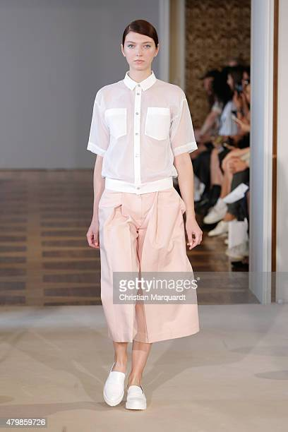 A model walks the runway at the Hien Le show during the MercedesBenz Fashion Week Berlin Spring/Summer 2016 at Kronprinzenpalais on July 8 2015 in...